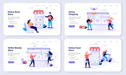 Online shopping web banner concept set. E-commerce, customer on the sale. App on mobile phone. Book, beauty and food store. Isolated vector illustration in flat style