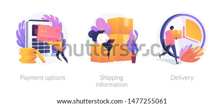 Online shopping web banners set. Internet store purchase e paying. Order shipment. Payment options, shipping information, delivery metaphors. Vector isolated concept metaphor illustrations