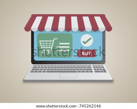 Online shopping with laptop.Store shop on notebook screen display.Online business marketing concept.Eps 10.