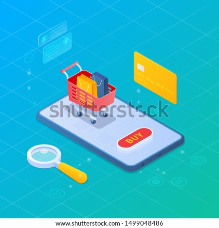 Online shopping with Mobile phone, Shopping cart and Credit card Isometric Flat vector illustration.