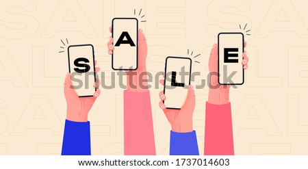 Online shopping with mobile phones. Hands holding smartphones and show SALE. Buy easily things on web shops. Marketing image for big sales.
