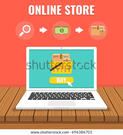 Online shopping with open laptop and online shop. Online store concept. Flat cartoon style. Vector illustration.