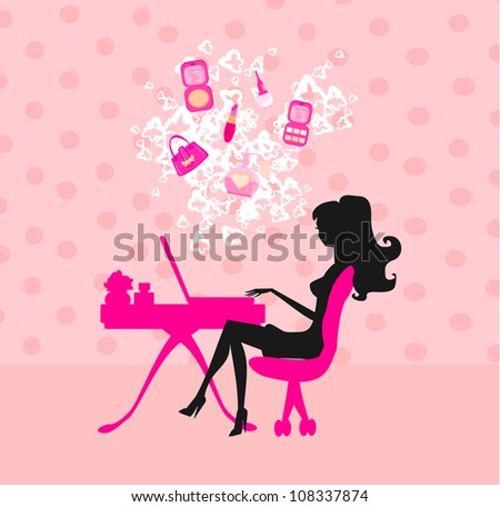 Online shopping - young smiling woman sitting with laptop comput