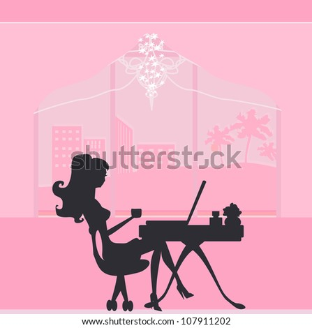 Online shopping - young smiling woman sitting with laptop compute