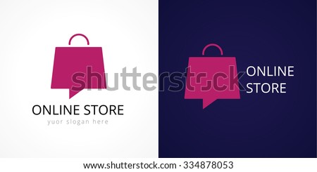 Online shops logo. Template colored isolated luxurious logotype of shopping center in the shape of speaking handbag. Fashion city, shopping bag.