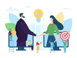 Online startup business partnership, vector illustration. Man woman character handshaking through smartphone screens. Digital agreement with investor and creative founder, professional work.