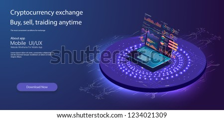 Online statistics and data Analytics.Digital money market, investment, finance and trading. Perfect for web design, banner and presentation. Isometric vector