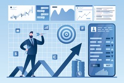 Online stock market investment. Analysis of financial data, currency trading. Forex market. Modern cellphone with finance app. Businessman holding darts. Finance profit. Vector illustration