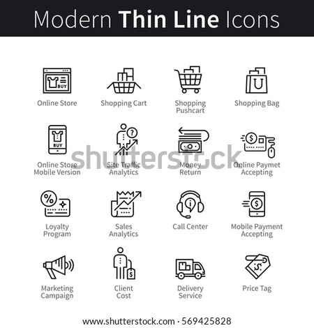 Online store business and shopping support set. Mobile storefront marketing, payments & purchase. Thin black line art icons. Linear style illustrations isolated on white.