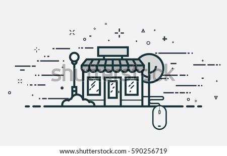 Online store concept. E-commerce building with windows and roof and connected mouse. Flat line style illustration with abstract lines and shapes.