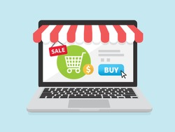 Online store concept on laptop screen with striped awning