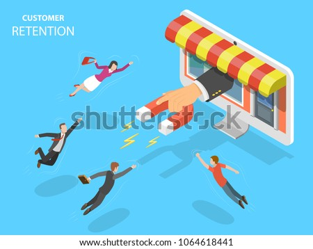 Online store customer retention flat isometric vector concept. Hand with magnet has appeared from the PC monitor attracting people from everywhere.