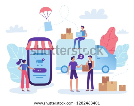 Online store delivery. Web shop retail purchase shiping, goods market purchasing and shopping business. Internet online retail mobile marketing shop website selling vector illustration