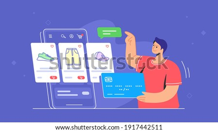 Online store e-commerce mobile app usage by consumer. Flat line vector illustration of young man holding blue credit card and pointing to the online e-store web cart with goods on smartphone screen