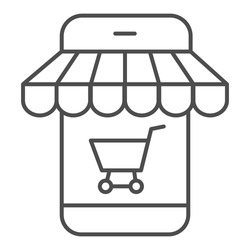 Online store in smartphone thin line icon, shopping concept, phone online store sign on white background, Mobile phone with shopping cart icon in outline style for mobile, web. Vector graphics