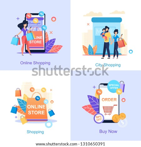 Online Store. Online City Shopping. Buy Now. Girl Buys through application Store. Family with Child Visits Mall. Discounts purchase Food Store. Convenient Application Smartphone Shopping.
