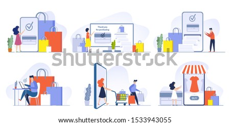 Online store payment. Mobile shopping, pay purchase order and credit card payments from smartphone vector illustration set. Digital technology, e marketing. Customer ordering goods via internet app