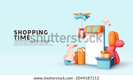Online store. Shopping time. Creative concept idea design. Realistic 3d mobile phone, Moto scooter, flying drone, gifts box and shopping. Courier service Delivery. Landing page. Vector illustration