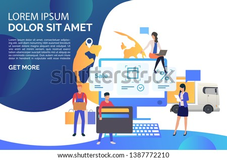 Online store team serving customer needs. Consumer with wallet, consultant, order delivery. Online shop concept. Vector illustration can be used for topics like sale, business, service #1387772210