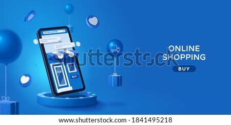 Online store via mobile phone set on podium with floating gift boxes aside, 3D web banner of online shopping