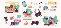 Online streaming concept illustrations. Bloggers, pro gamers, artists and influencers live streaming. Flat vector illustration