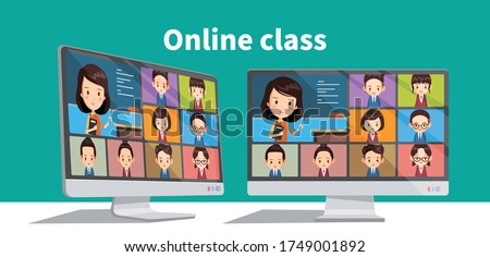 Online students lesson or meeting. Coronavirus quarantine distance education concept. Stay at home vector illustration. Studying pupils or students. Laptop screenshot.