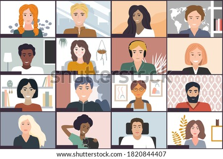 Online students lesson or meeting. Coronavirus quarantine distance education concept. Stay at home vector illustration. Studying pupils session. Laptop screenshot, Conference video call screenshot