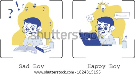 online study, happy boy, sad boy, idea, confuse, business idea, e-learning Flat design illustration of a boy who is happy and sad, A happy kid with a laptop and a sad kid with books