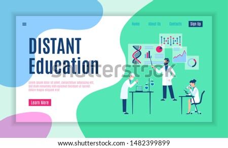 Online study web page. Internet education training courses or studying place distance learning for college students vector educated digital classroom modern illustration