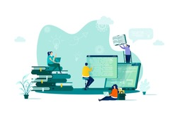 Online studying concept in flat style. Students learning online scene. Distance education, professional seminars and courses web banner. Vector illustration with people characters in work situation.