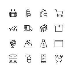 Online supermarket flat icon set. Single high quality outline symbol of info for web design or mobile app. Thin line signs for design logo, visit card, etc. Outline logo of graphic online supermarket