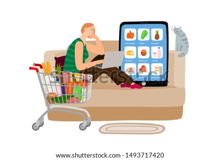 Online supermarket. Girl orders food from home. Grocery store app vector concept