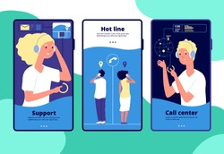 Online support concept. Customers chat operator, consultant answers client. Call center, customer service vertical vector layouts. Operator call, service support customer, help online illustration
