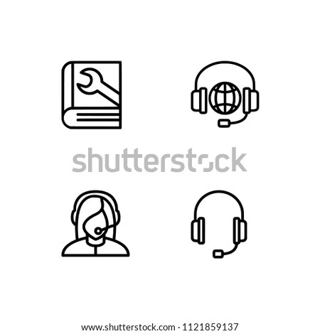 Online support service. Set icon EPS 10 vector format. Professional pixel perfect black & white icons optimized for both large and small resolutions. Transparent background.
