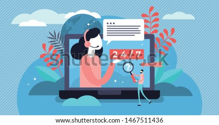 Online support vector illustration. Flat tiny web help platform persons concept. Customer assistance and information operator occupation. Helpline agent consultation work and professional service.