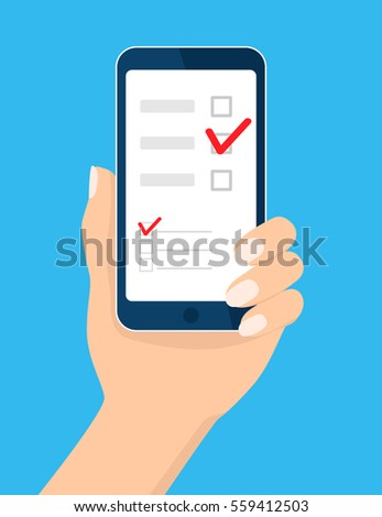 Online survey, checklist. Hand holds mobile phone, smartphone and finger touch screen. Feedback business concept. Cartoon flat vector illustration isolated on blue. Design for web, website, app