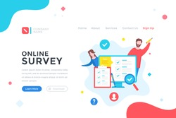 Online survey. Checklist, questionnaire, feedback, quiz concept. Modern flat design graphic elements for web banner, landing page template, website. Vector illustration