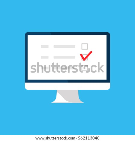 Online survey, checklist, questionnaire icon. Computer screen. Feedback business concept. Cartoon flat vector illustration isolated on blue. Minimalistic design for web site, mobile app