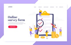 Online survey form or insurance application on the clipboard, claim form and tiny people working together. Internet questionnaire, online education quiz vector illustration concept template.