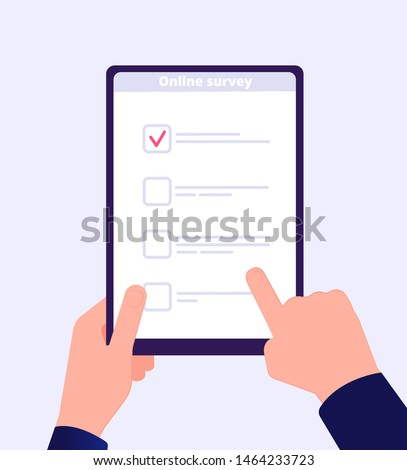 Online survey. Internet surveying list hand holding tablet web test form. Mobile questionnaire customers voting application vector. Checklist online, check screen survey, questionnaire list