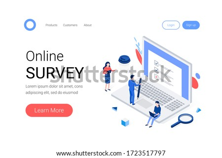 Online survey isometric concept. Group of people are filling out a paper survey form that is sticking out of the laptop screen. Trendy flat 3d isometric style. Landing page template. Vector illustrati