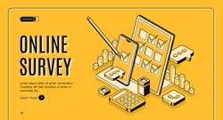 Online survey isometric web banner, stylus pen put mark on digital document checklist at tablet screen, customer questionnaire, feedback service internet technology. 3d vector landing page, line art