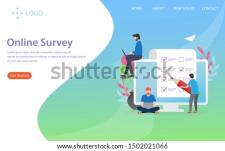 online survey vector illustration concept, can use for, landing page, template, ui, web, mobile app, poster, banner, flyer