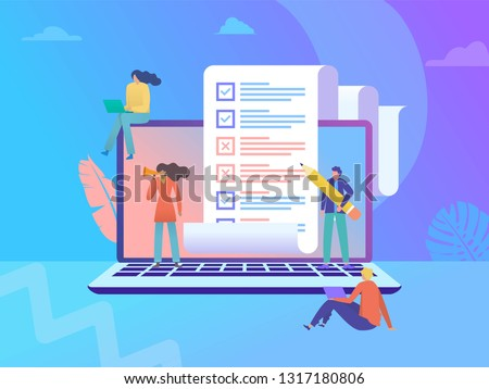 online survey vector illustration concept, people filling online survey form on laptop, to do list paper note,  can use for, landing page, template, ui, web, homepage, poster, banner, flyer
