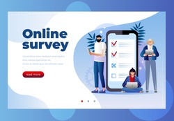 Online survey vector illustration concept, people filling online survey form on mobile and laptop.  landing page template, can use for ui, web, mobile app, poster, banner, flyer