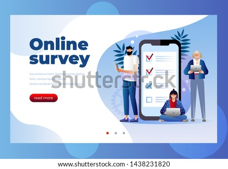 Online survey vector illustration concept, people filling online survey form on mobile and laptop.  landing page template, can use for ui, web, mobile app, poster, banner, flyer