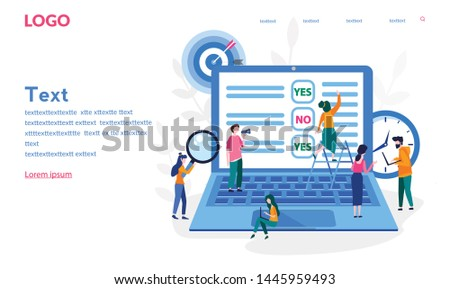 Online survey  Vector illustration for web banner, print, infographics, Online voting, online survey technology concept with people and laptop with checklist. Yes No list