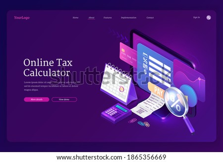 Online tax calculator banner. Concept of income audit, digital finance analysis and taxation payments. Vector landing page with isometric accounting form on computer monitor, receipt and credit card Сток-фото ©