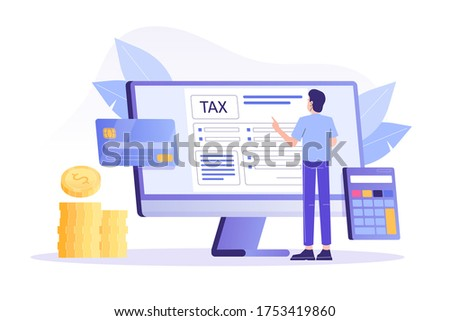 Online Tax Payment Concept. Young man filling application for tax form. Online tax submitting system. Calculating payment check. Isolated modern vector illustration for web, banner, flyer, poster