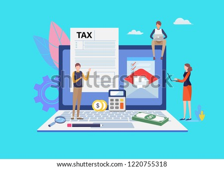 Online Tax payment. Filling tax form. Business concept. People vector illustration. Flat cartoon character graphic design. Landing page template,banner,flyer,poster,web page